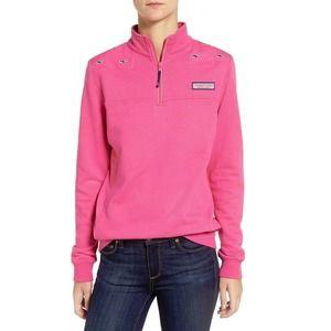 Vineyard Vines Sweatshirt Medium Pink Whale Fleece Shep 1/4 Zip Long Sleeve